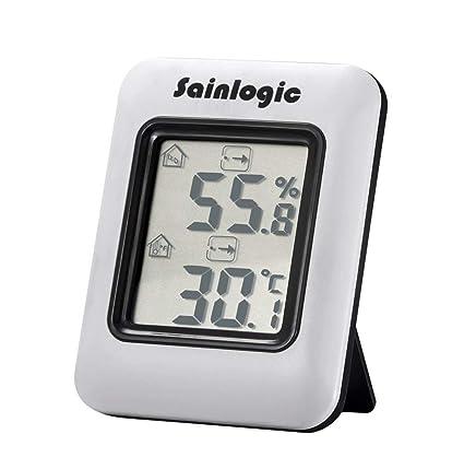 sainlogic higrómetro Digital, termómetro medidor de humedad Monitor con temperatura humedad interior