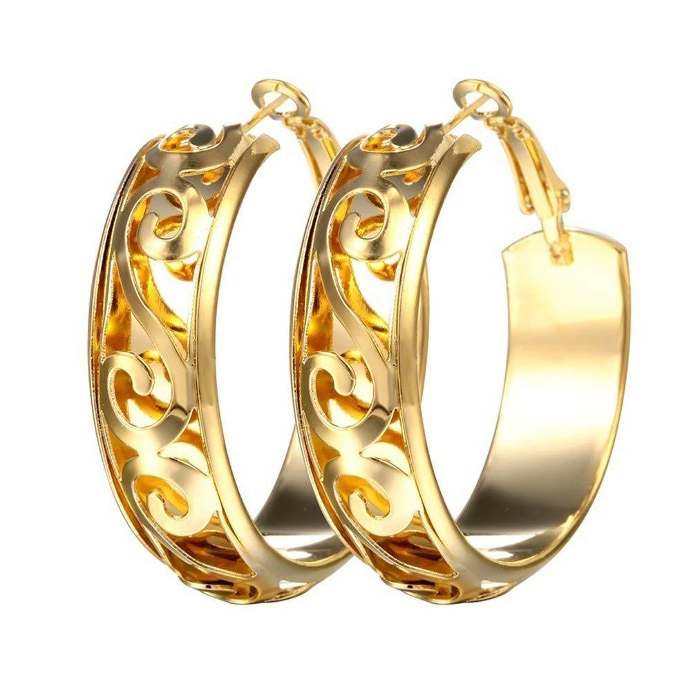 Sinwo Women Fashion Round Earring Hoop Studs Dangle Earrings Ear Studs Jewelry Gift (Gold)