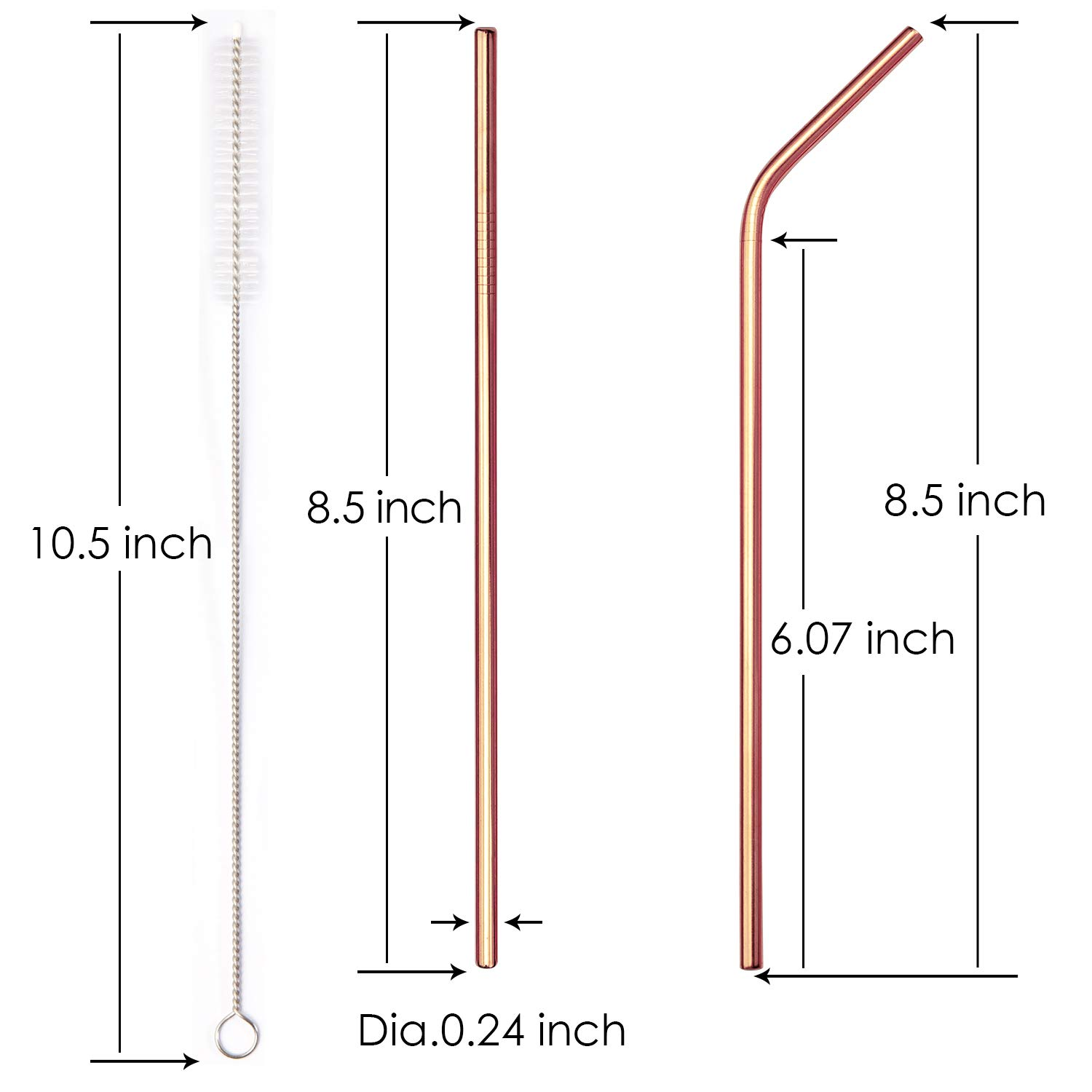 4 Straight + 4 Bent + 2 Brushes YIHONG Set of 8 Stainless Steel Metal Straws 8.5 Reusable Drinking Straws for 20oz Tumblers 6mm Diameter Rose Gold