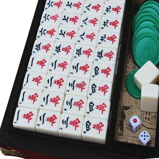 Mahjong, mahjong juego de mesa , Funda de cuero Antiguo viaje Mahjong, Ajedrez tradicional y juegos de cartas que son fáciles de llevar, utilizar juegos de estrategia con entretenimiento en casa: Amazon.es: