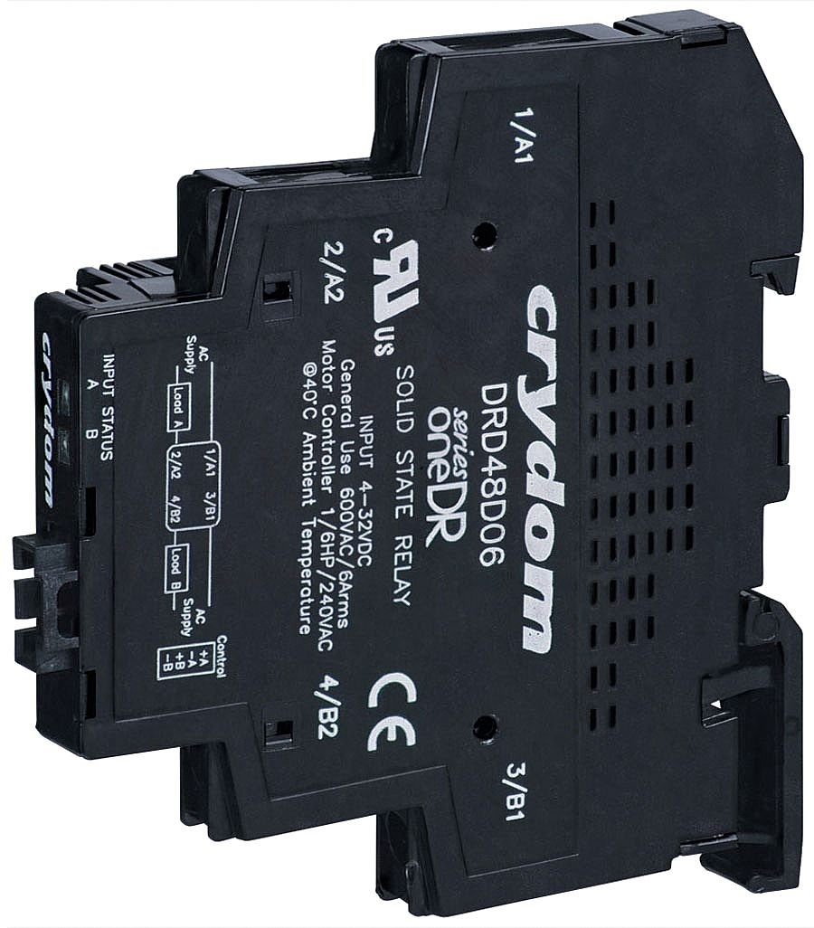 Crydom / CST - DRD24D06 - 2-Pole DIN Rail Mount Dual Solid State Relay; Max. Output Amps w/Heat Sink: 6 by Crydom