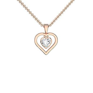 Herzkette Rosegold Kette Zirkonia Stein Damen    Silber 925 hochwertig  vergoldet   GRATIS Gravur f1ffa0d7c8