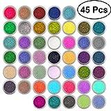 Lurrose Nail Glitter Powder 45 Colors Nail Art Pigment Glitter Dust Powder Set (Random Color)