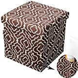 WOLTU Folding Ottoman Storage and Poufs Printcloth Brown Cube 15 inch