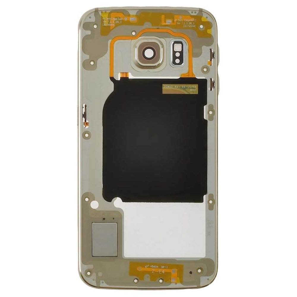Housing (Mid Frame) for Samsung Galaxy S6 Edge (Gold Platinum) (Aftermarket) with Glue Card