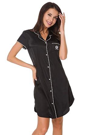 b046b676aa Women's Boyfriend Style Short Sleeve Silk Like Satin Sleepwear Long Sleep  Shirt Loungwear Silk Sleep Shirt