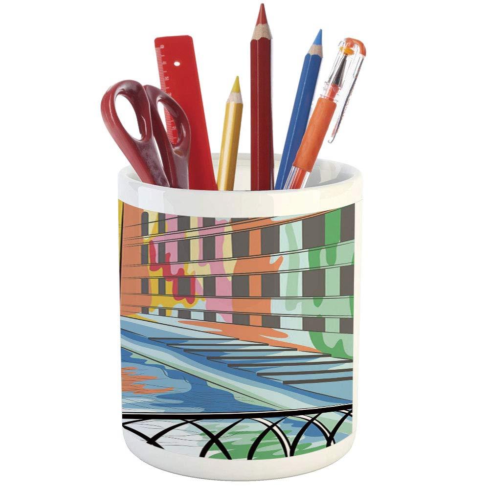 Printed ceramic pencil pen holder for desk office accessory colorful sketch of a landscape the bridge of sighs in venice artistic romantic scene