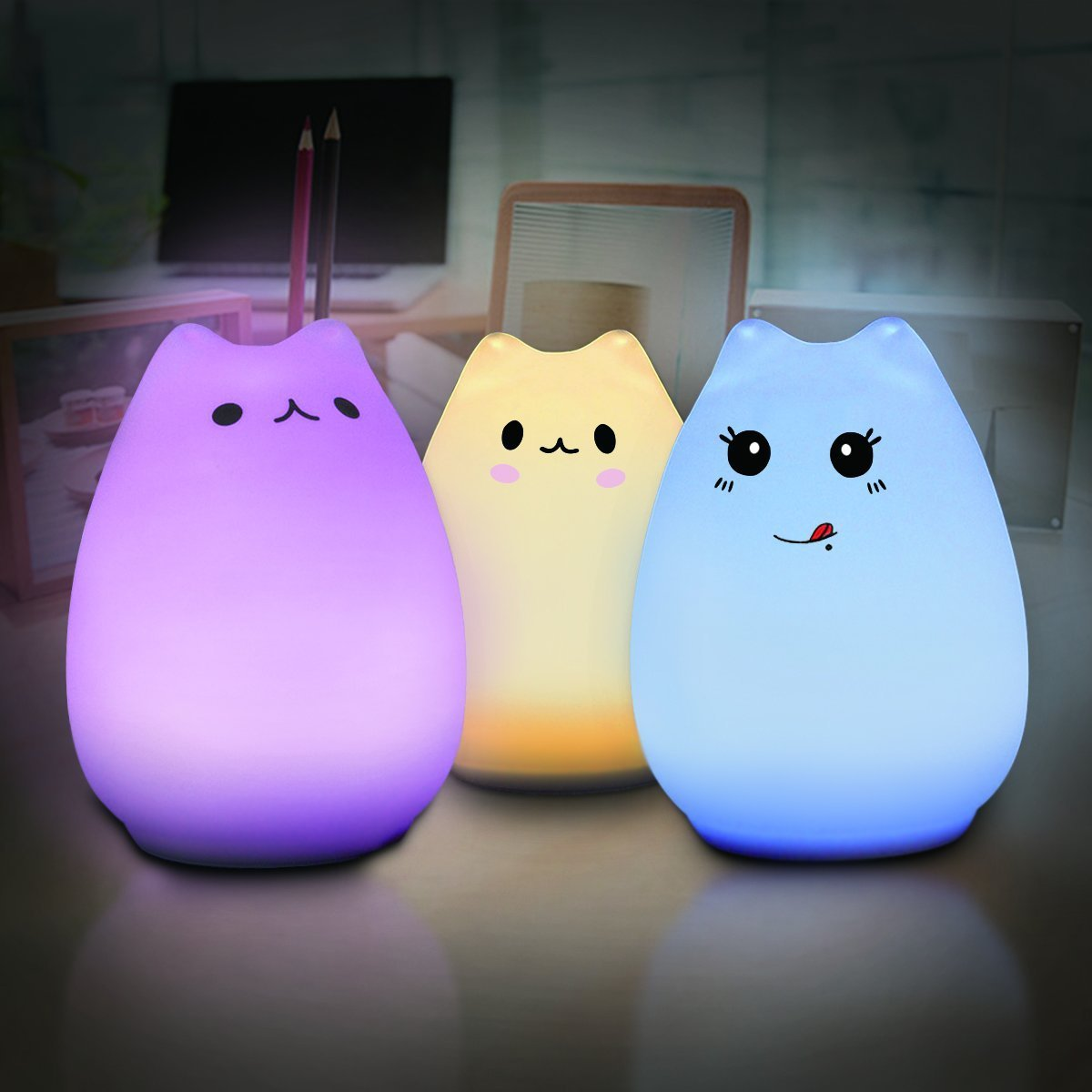 Yiping Brand New and Children Night Light,Multi-Color Cat Lamp with Remote- Cute Kitty Cartoon Animal LED Portable Silicone Night Light - 12 Single Colors & 7-Color Breathing Modes - USB
