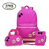 Backpacks for Kids,Topivot 3pcs Waterproof School Backpack for Girls and Boys(Backpack,Handbag,Purse) (Rose)