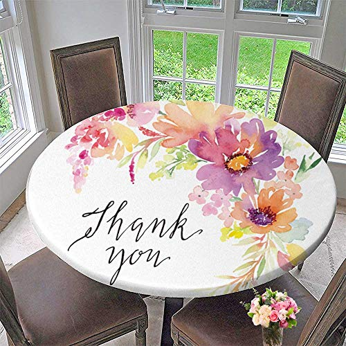(PINAFORE HOME Round Fitted Tablecloth Greet Card flowersmade Thank You for All Occasions 63