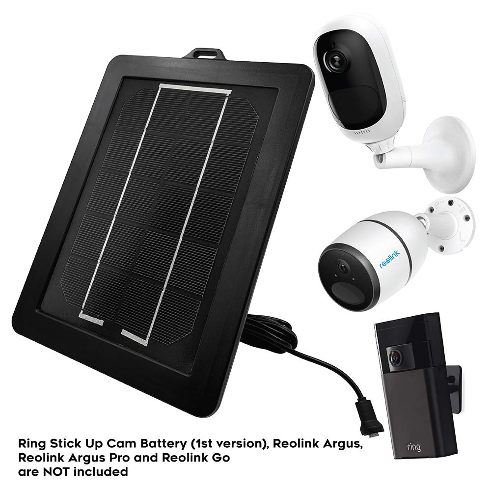 Solar Panel for Ring Stick Up Cam - Reolink Go - Argus Pro - Argus 2 Cameras (Black) - Solar Charging Panel for Ring Stickup Cameras - Reolink Argus Solar Charger w/Mount & Charging Cable by Sully by Sully