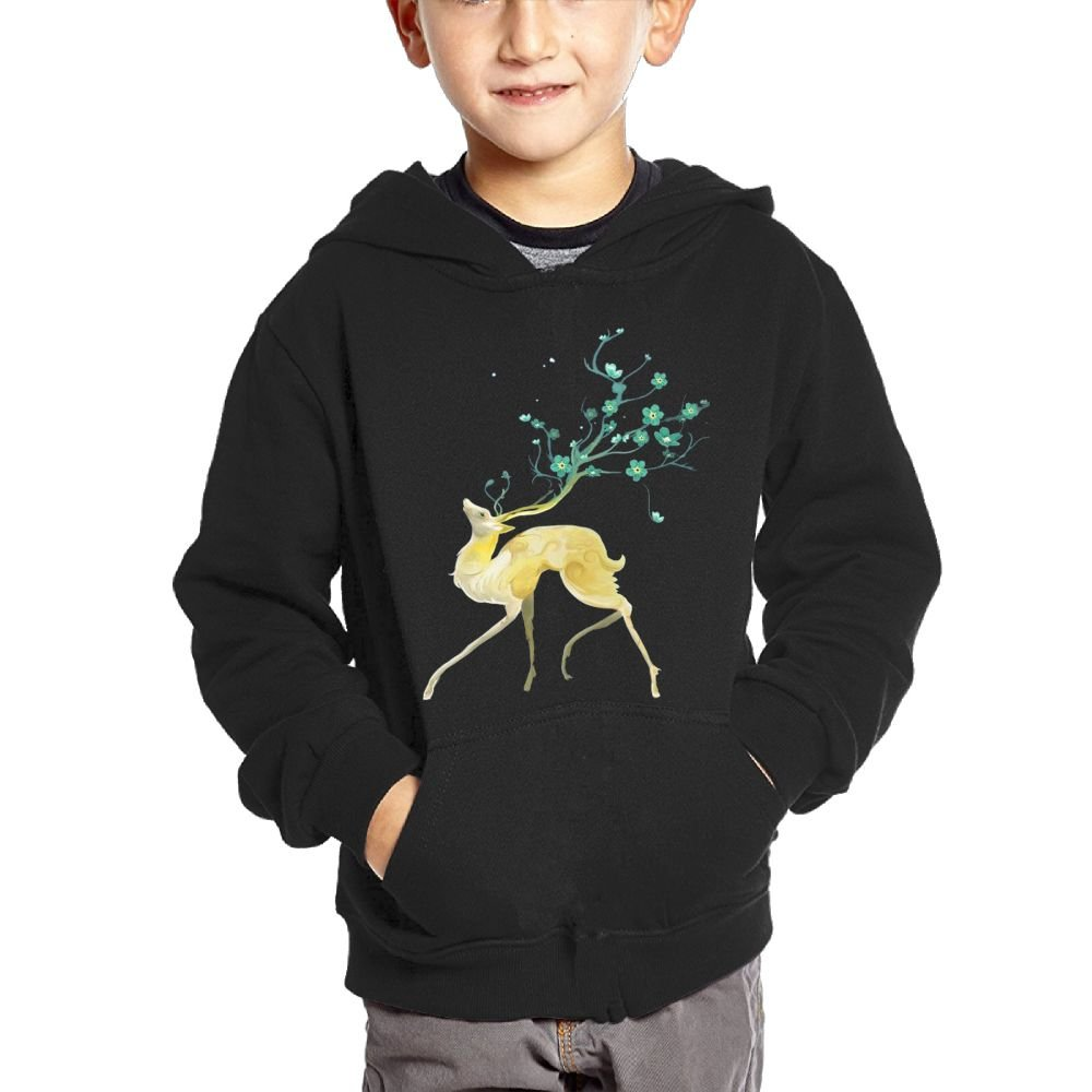 Anutknow Sika Deer Green Beautiful Floral Antlers Childrens Fashion Casual Hooded Pocket Sweater