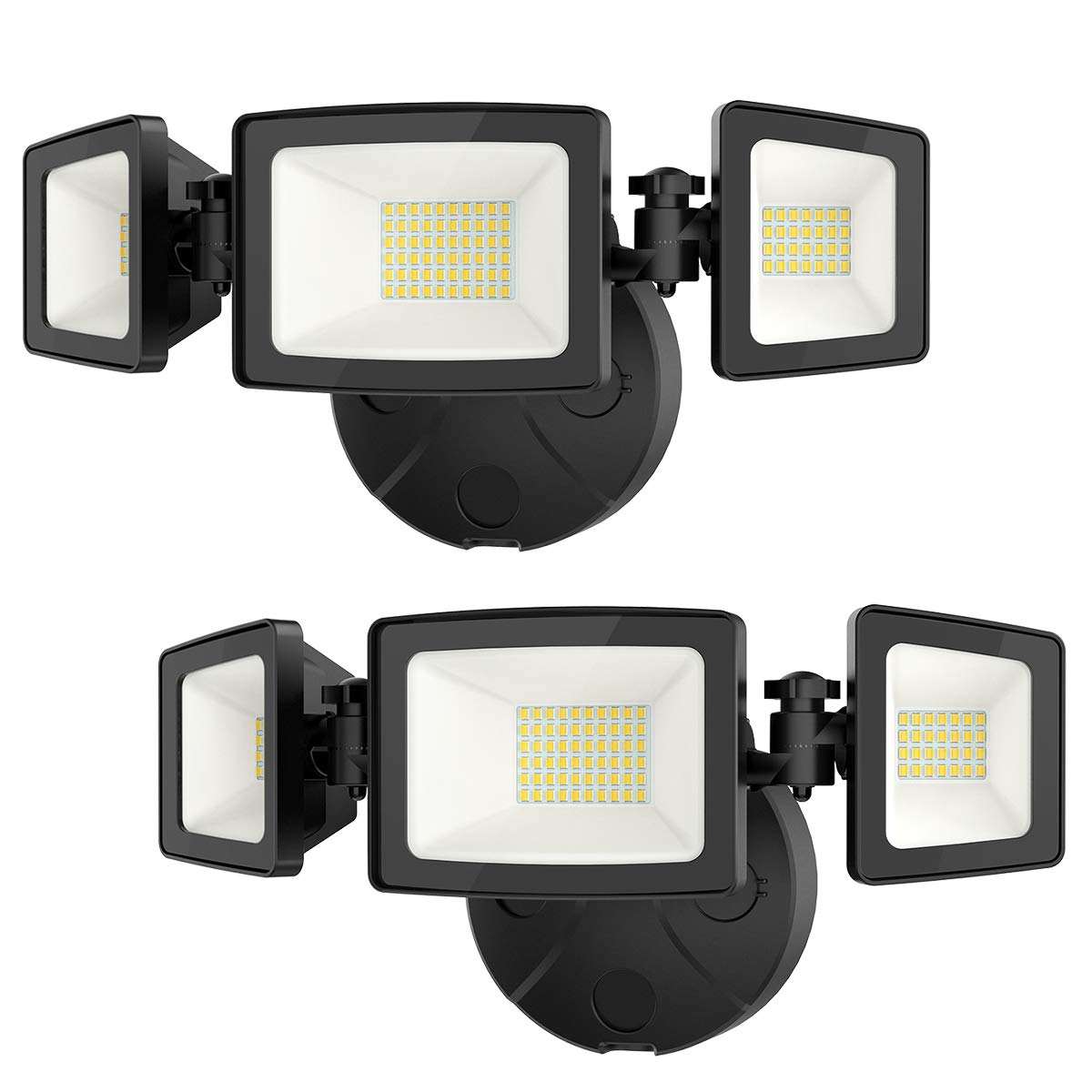 Onforu 2 Pack 50W LED Security Light, 5000LM Super Bright Outdoor Flood Light, 5000K, IP65 Waterproof, 3 Adjustable Heads Flood Light for Garage, Patio, Garden, Porch&Stair