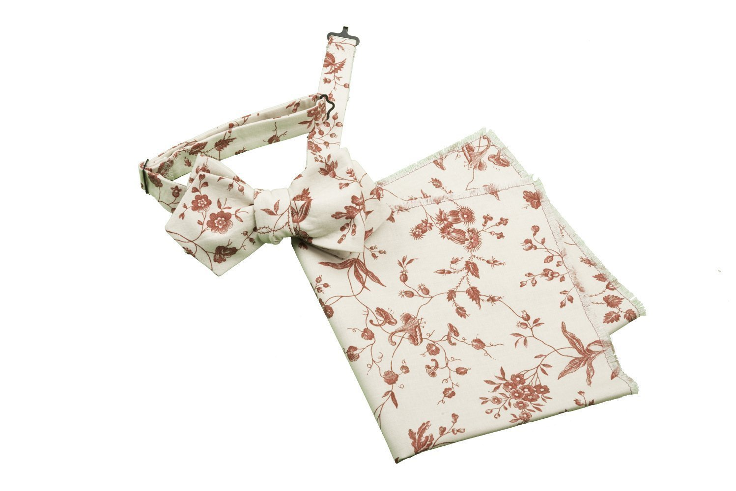 Bow Tie, Selftie, Pocket Square, Set, Men, Woman, Adjustable, Hook, Cotton, Percale, Ivory, Beige, Red, White, Floral, Flowers, Souleiado, Provencal, Pattern, One size, Made in Italy, Handmade by Old Fashion Sartoria, Florence, Italy