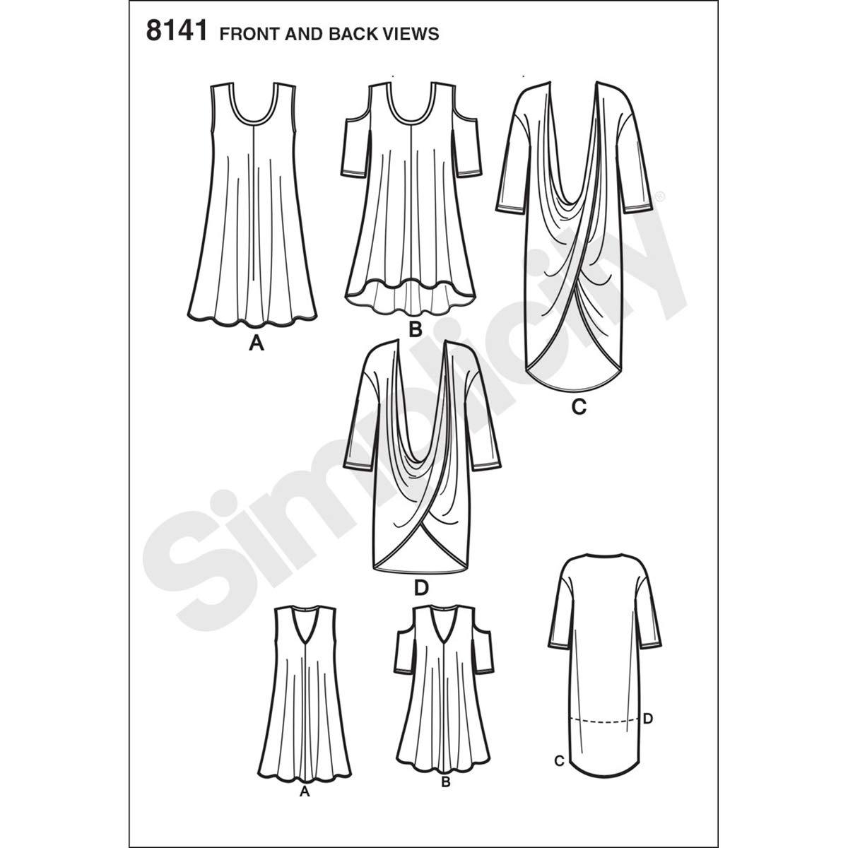 18W-20W-22W-24W Simplicity Creative Patterns 8141 Plus Size Knit Tunics and Mini Dress FF