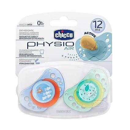Chicco Physio Air - Chupete de caucho, 12 meses en adelante, 2 unidades, color azul