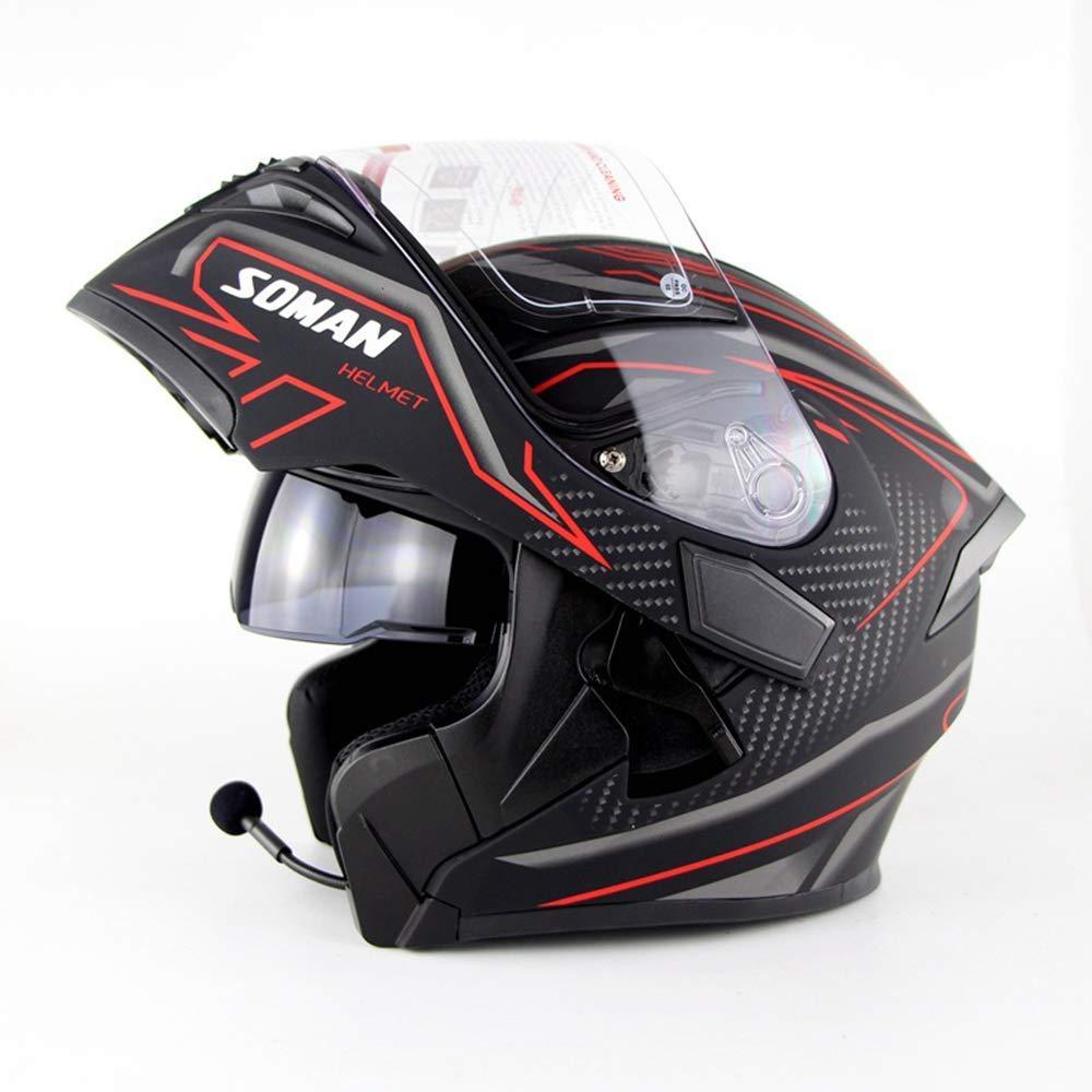 オートバイヘルメット、スマートオートバイブルートゥースヘルメット/音楽/留守番電話/DOTモジュラーフリップアップ/マイク付きデュアルスピーカーヘッドセット,A,XL X-Large A B07Q9PNSH8