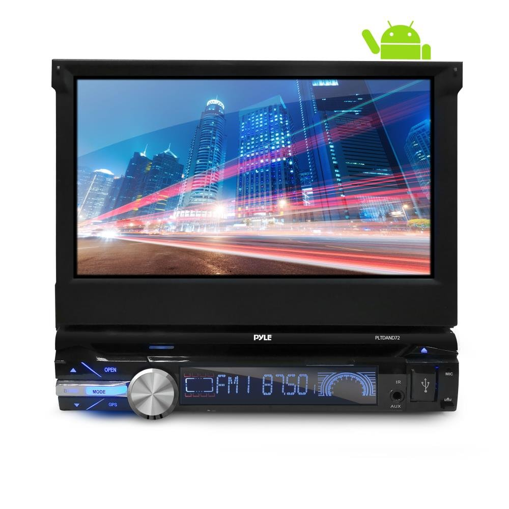 Premium 7In Single-DIN Android Car Stereo Receiver With Bluetooth and GPS Navigation - Pop-Out Touchscreen Motorized Slide-Out Display Screen With Wi-Fi Web Browsing, App Download And CD/DVD Player by Pyle (Image #1)