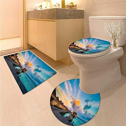 Amazon com: Miki Da 3 Piece Toilet mat Set A House on The Edge The