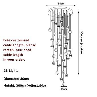 Moderna escalera grande, lámpara de cristal, accesorio de iluminación que cuelga madera larga ático bola de cristal granizo @ Dia80 H300 cm_warm light (3000K): Amazon.es: Iluminación