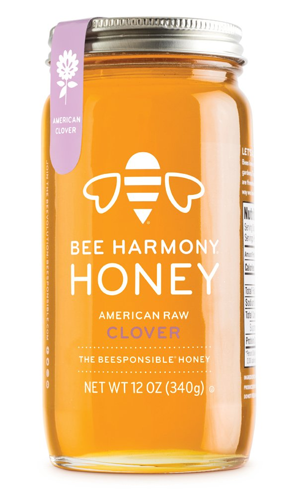 Bee Harmony American Raw Clover Honey, 12 Ounce