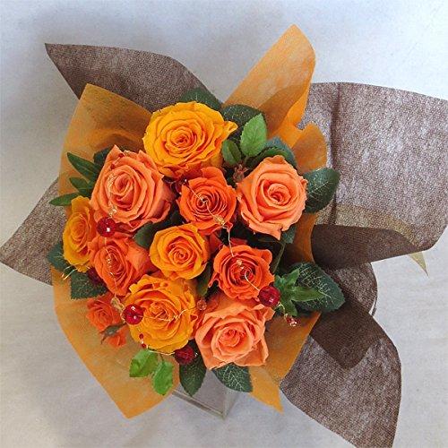 枯れない花 プリザーブドフラワー 花束(誕生日記念日お祝いプロポーズ等に最適) (オレンジ) B00QKCDWRK オレンジ オレンジ