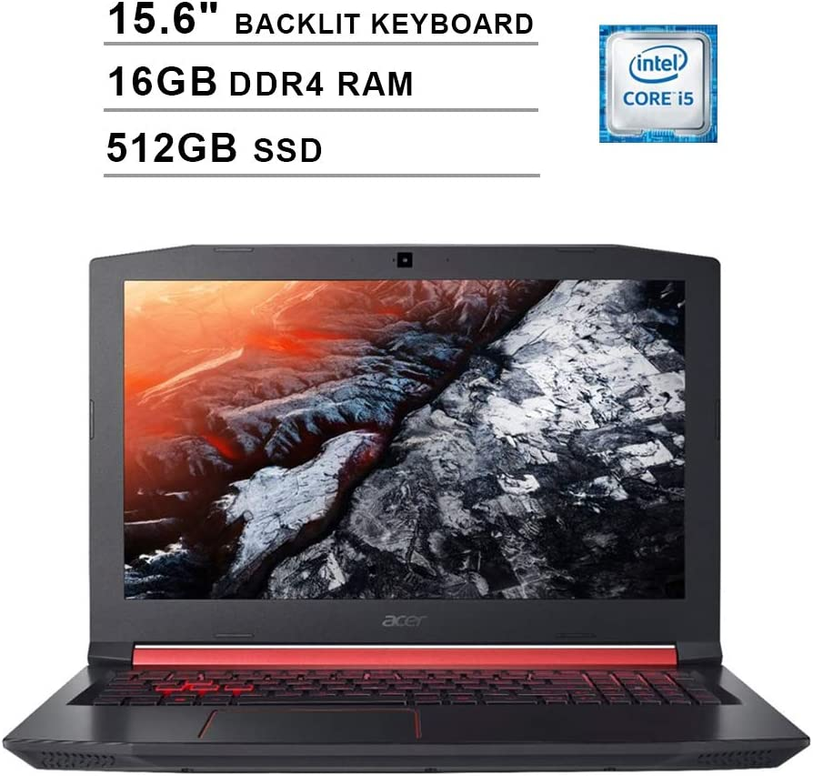 2020 Acer Nitro 5 AN515 15.6 Inch FHD Gaming Laptop (Intel Quad Core i5-8300H up to 4.0 GHz, 16GB DDR4 RAM, 512GB SSD, NVIDIA GeForce GTX 1050 Ti, Backlit Keyboard, Windows 10) (Shale Black)