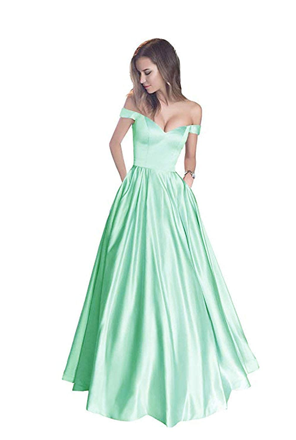 Mint without Belt FJMM Womens Off The Shoulder Beaded ALine Prom Dress for Party