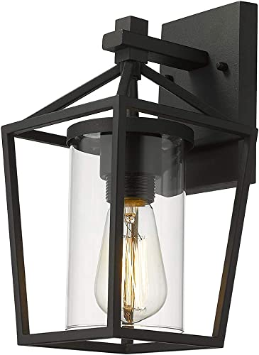 Emliviar 1-Light Exterior Wall Sconce, 11 Inch Small Outdoor Wall Lantern, Black Finish with Clear Glass, 20065B3