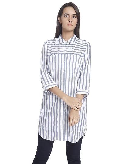 Vero Moda Vmstripy 3/4 Long Shirt a, Blusa para Mujer: Amazon.es: Ropa y accesorios