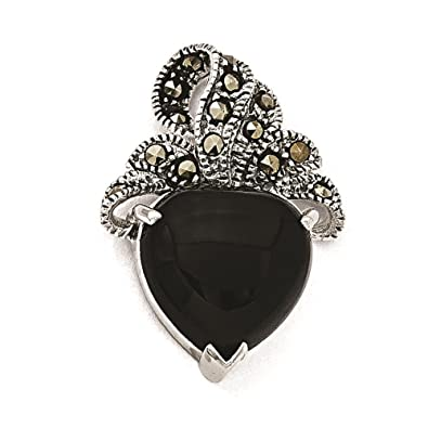 925 Sterling Silver Rhodium-plated Polished Onyx Charm Pendant