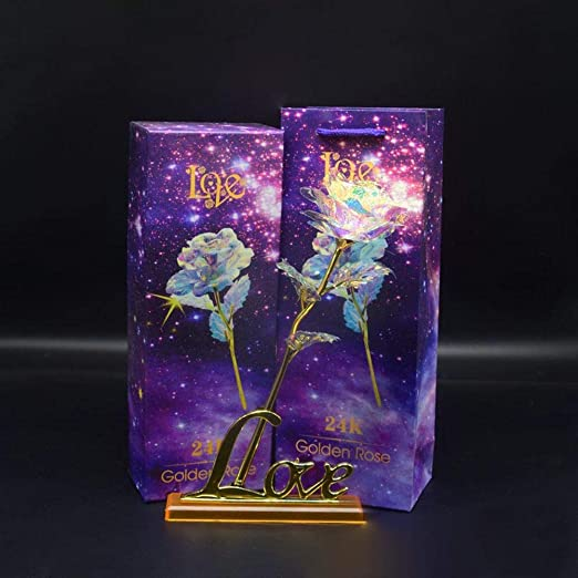 Luminous PVC Rose Flower With Love Base Stand Valentines Mothers/' Day Gifts Set