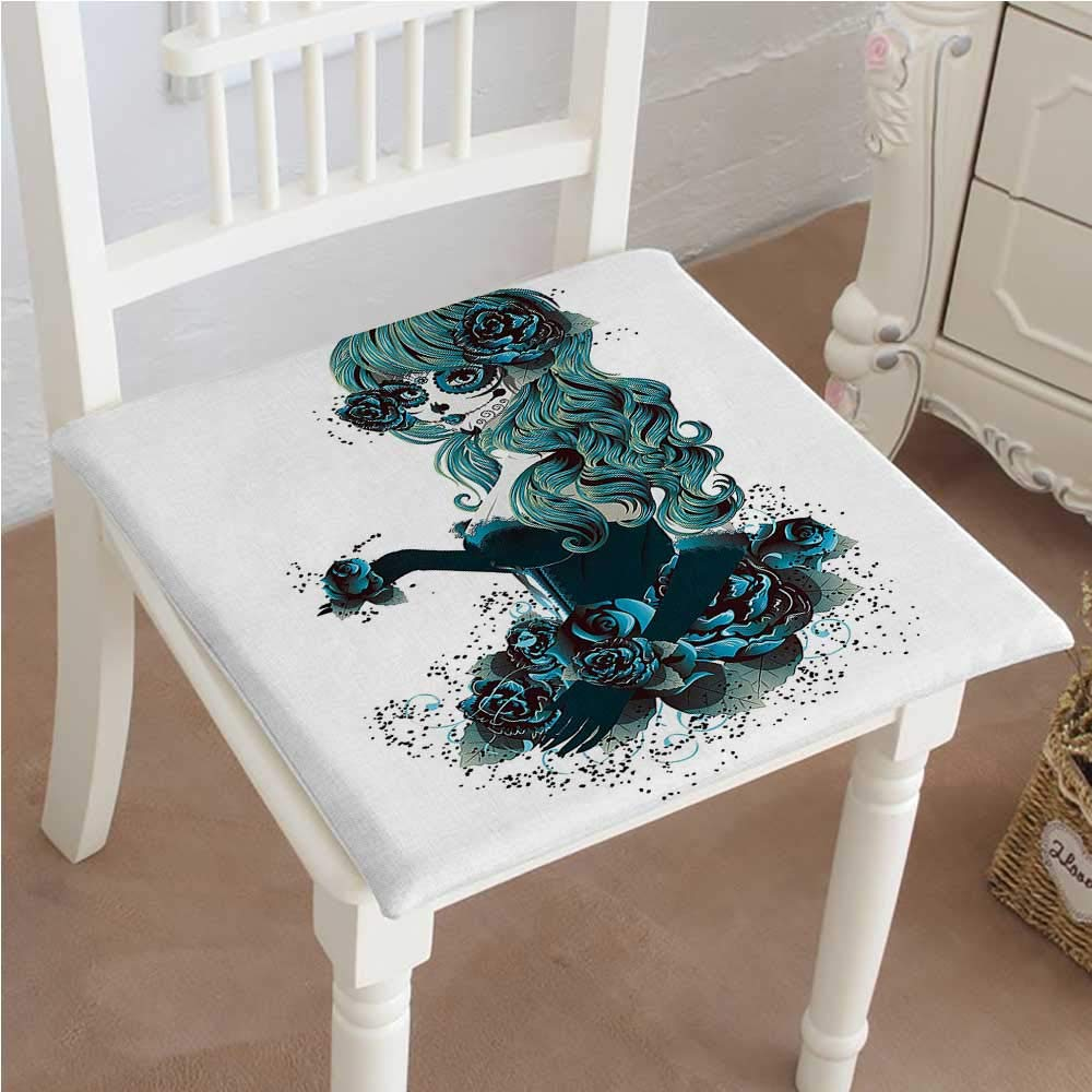 Mikihome Outdoor Chair Cushion Sugar Skull Girl Bride with Dark Color Roses Graphic Art White Comfortable, Indoor, Dining Living Room, Kitchen, Office, Den, Washable 28''x28''x2pcs