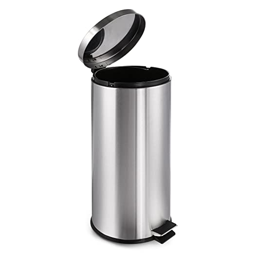 homdox 30l foot pedal deco bin kitchen trash can with plastic inner bucketspace
