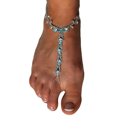 e2f4d0e5e41829 Image Unavailable. Image not available for. Color  Blue Swarovski Style Barefoot  Sandals Beach Wedding Rhinestone Anklet ...