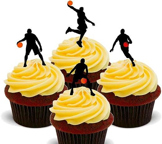 Siluetas de baloncesto, decoración comestible para pastelería, de ...
