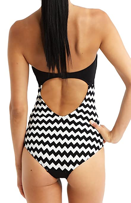 fbdeb1f42678c Seafolly One Piece Swimsuit Bandeau Mod Club Chevron Stripe Side Maillot  Black 10 US at Amazon Women s Clothing store