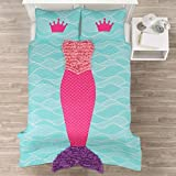Blue, Pink and Purple 2-Piece Twin Quilt Set For Girls with Mermaid Printed Made From Polyester and Glam Style Included Cross Scented Candle Tart
