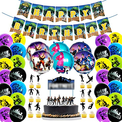 OSuppliez 46 Piece Video Game Theme Birthday Party Supplies And Decorations Set With Everything You Need For An Unforgettable Birthday Party Including 1 Happy Birthday Banner - 1 Cake Topper - 12 Cupcake Topper - 26 Colorful]()
