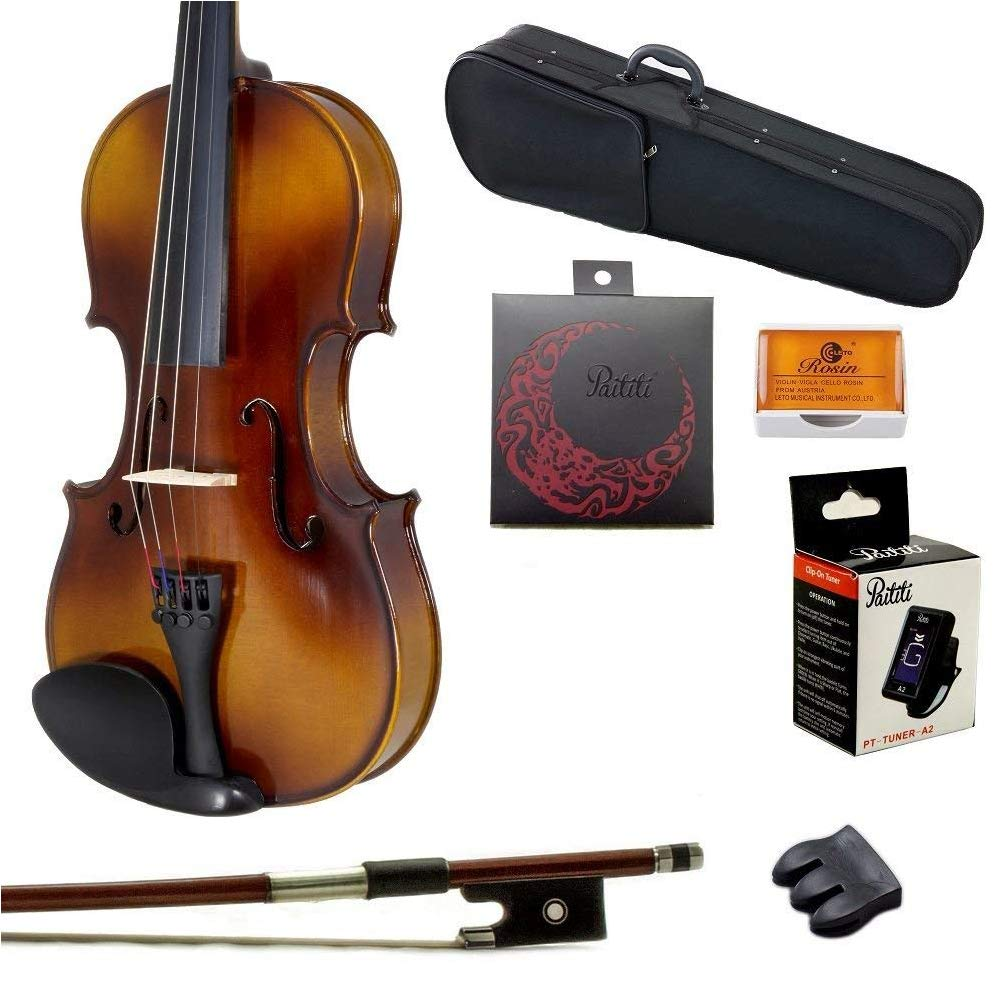 Paititi 1/16 Size Solid Wood Student Violin Complete Package w Case Bow Rosin String Mute Tuner Complete Package