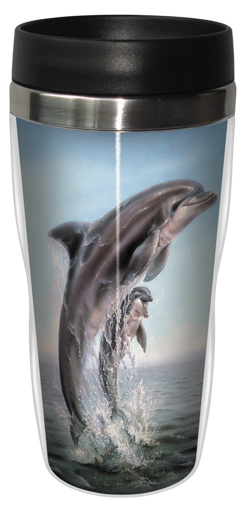 Dolphin Leaping Travel Mug, Stainless Lined Coffee Tumbler, 16-Ounce -  Linda Thompson - Gift for Ocean Animal Lovers - Tree-Free Greetings 25920