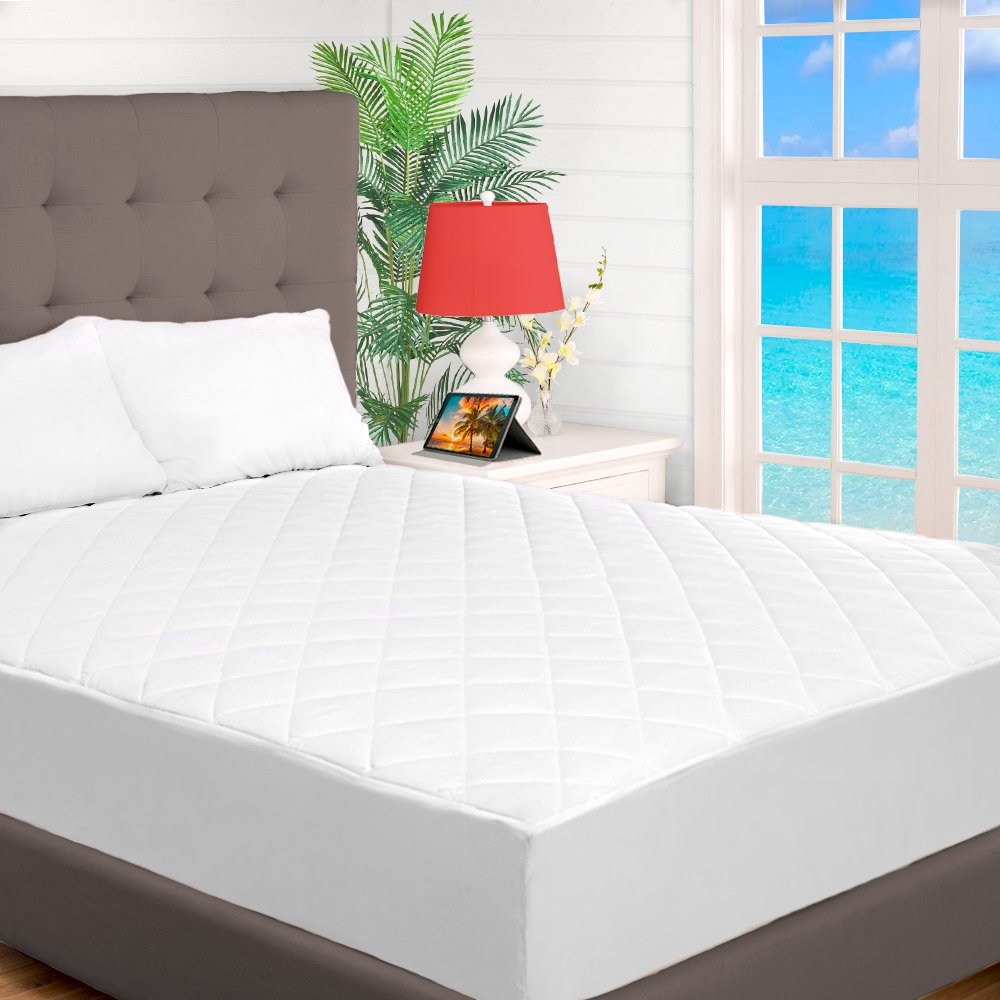 Quilted Fitted Mattress Pad - Cooling Mattress Topper - Hypoallergenic Down Alternative Fiberfill - Stretch-To-Fit (Split Head Flex King)