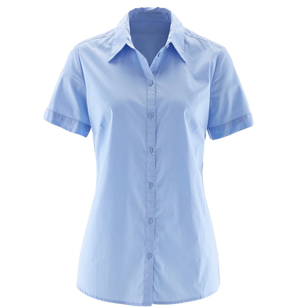 Nordicwinds Womens Short Sleeve Button Down Blouse Basic Simple Shirts