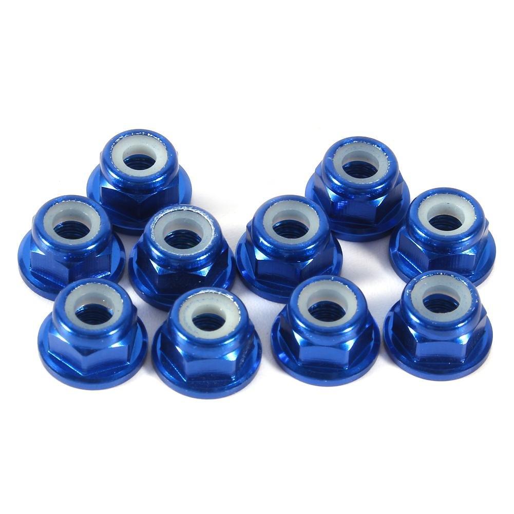 10 PCS M3 Nut CNC Aluminum Flanged Nylon Lock Nut Self-Locking Metal Nuts Dark Red Hex Self-Lock Nuts