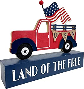 Eternhome American Patriotic Decor 4th of July Decorations USA Flag Truck Box Sign Land of The Free Wooden Block Home Decor Rustic Farmhouse Sign Tabletop for Memorial Day Independence Labor