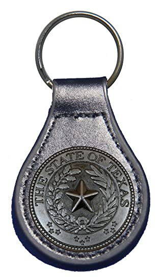 Texas State Seal leather key fob or keychain