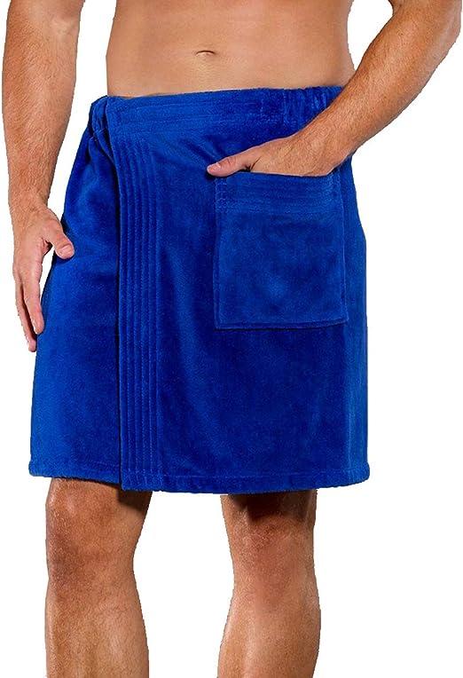 Men/'s Bath Towel Body Wrap Velour Cloth Spa Soft Adjustable Towel Wrap Bathrobe