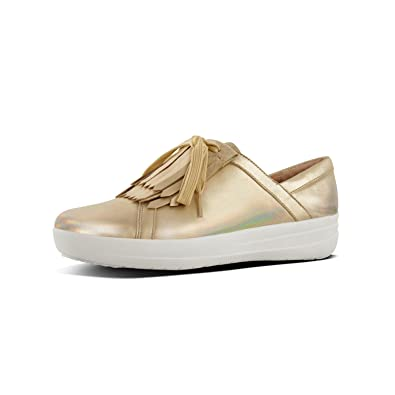 56955bcdc Fitflop F-Sporty IITM Ladies Leather Fringe Trainers Gold Iridescent ...