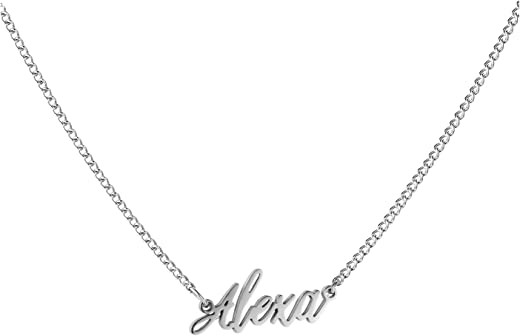 WIGERLON Custom Name Necklace Personalized Pendant 18k White Gold Plated for Women and Girl