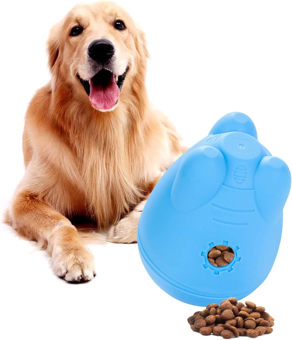 DYJKOUG Dog Treat Dispensing Ball Toys, Pet Dog Wobble Ball Slow Feeder Interactive Toy Detachable IQ Teat Ball Tumbler Toy for Dogs Food Dispenser (Blue)